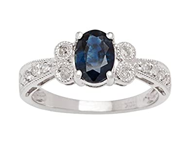 10k White Gold Vintage Style Oval Sapphire and Diamond Ring (G-H, I1-I2)