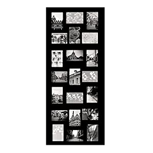 Adeco 21-Opening Decorative Wood Collage Wall Hanging Picture Frame, 4 by 6-Inch, Black