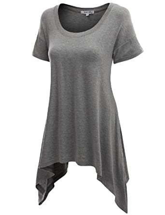 Doublju Srhot Sleeve Knit T-shirt with Ublalanced Hem MELANGEGRAY (US-S)