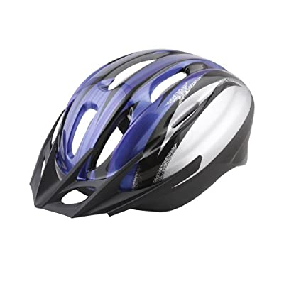 "Pinnacle- Adjustable Adult Mens Womens Childrens Sports Safety Cycle Helmet for MTB Road Race Bicycle Mountain Bike, 22.0""-24.0"", Blue + Silver + Black from Pinnacle"