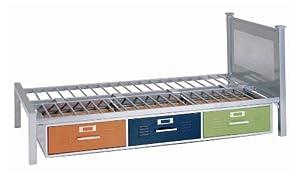 American Furniture Alliance Locker Twin Bed with 3 Drawers, Multicolor by American Furniture Alliance
