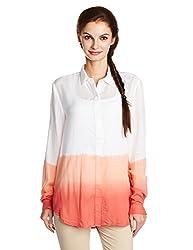 Juniper Women's Button Down Shirt (30184_White and Pink_M)