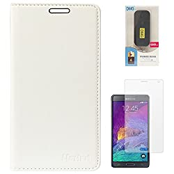 Lishen Premium Quality Leather Stand Flip Cover Case For Samsung Galaxy Note 4 N910 (White) + 6600 mAh PowerBank + Matte Screen