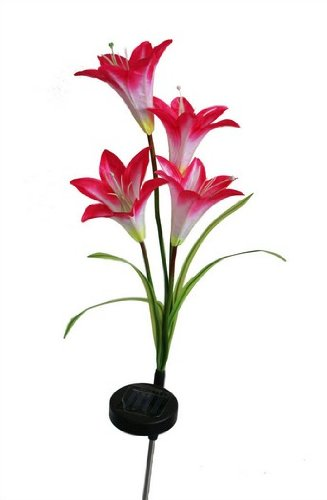 Solar Powered Outdoor Led Color Changing Waterproof Lily Flower Garden Lawn Light Lamp For Yard Decoration (Red)