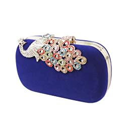 BMC Womens Elegant Rhinestone Peacock Clasp Velvet Cocktail Evening Handbag-BLUE