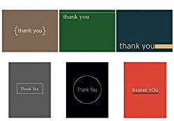 Contemporary Thank You Notecard Set - 36 Note Cards for $12.99 - 6 Designs - Blank Cards - Off-White Ivory Envelopes Included by Note Card Cafe