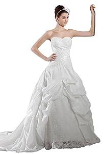 Ivory Taffeta Lace-up Pleated Flowers Chapel Train Lace Wedding Dress(2,Ivory)