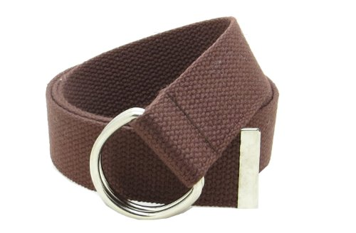 """Canvas Web Belt Double D-Ring Buckle 1.5"""" Wide with Metal Tip Solid Color (Brown XL)"""