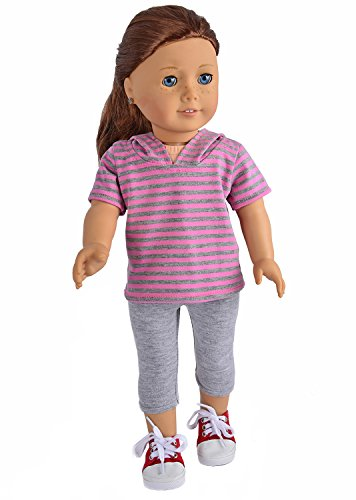"Ebuddy Sports Casual Shorts with Hat+grey Pants Doll Clothes Fits 18"" Girl Doll - 1"