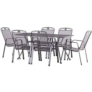 Savoy 160cm 6 Seater Dining Set Silver Metal Garden Furniture Set 6 Seater Dining Set