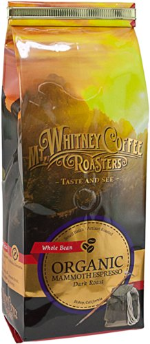 Mt. Whitney Coffee Roasters: 12 Oz, Usda Certified Organic Mammoth Espresso, Dark Roast, Whole Bean Coffee