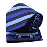 Black Stripes Woven Silk Neckie Hanky Cufflinks Gift Box Set Black valentines day Pointe Tie PH1066