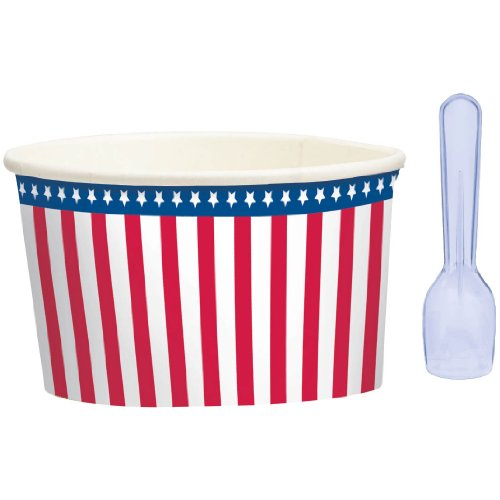 Amscan Red White Blue Ice Cream Cups and Spoons 8ct - 1