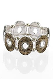 Per Una Diamanté Etched Coin Stretch Bracelet