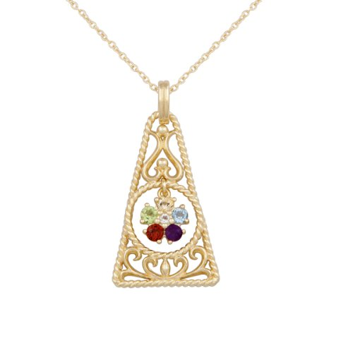 18k Yellow Gold Plated Sterling Silver Genuine Multi-Gemstone Filigree Geometric Shape Pendant Necklace, 18