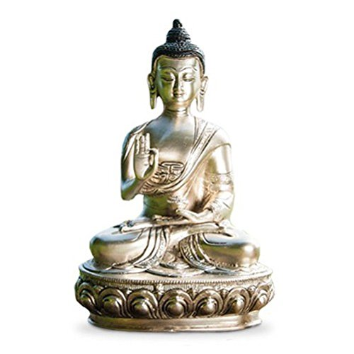 deko figur buddha figur shakyamuni gautama sitzend statue aus messing silber h he 25 cm gro. Black Bedroom Furniture Sets. Home Design Ideas