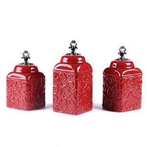 amazon com set of 3 french tuscan red swirl ceramic