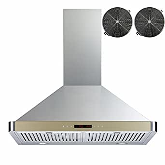 "Golden Vantage 30"" Wall Mount Range Hood Stainless Steel Golden Ductless Hood W/ Touch Control Panel Carbon Filters Included"