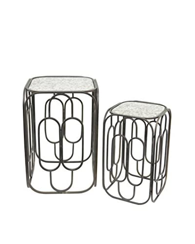 Three Hands Set of 2 Metal Tables with Glass, Black
