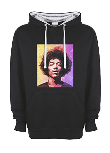 Jimi Hendrix Triangles Artwork Nero / grigio Qualità Superiore Felpa con Cappuccio Unisex Small