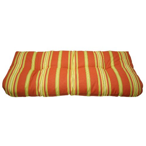 Wicker Settee/bench Cushion- Langley Stripe Cardinal picture