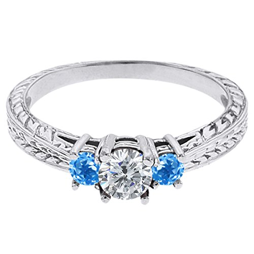 0.60 Ct Round G/H Diamond Swiss Blue Topaz 18K White Gold 3-Stone Ring