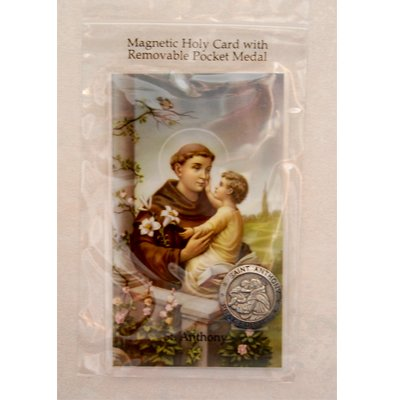 Magnetic St. Anthony Holy Card & Removable St. Anthony Pocket Medal