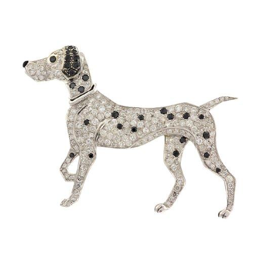 2.52 CT VS WHITE & BLACK DIAMOND DALMATIAN DOG BROOCH