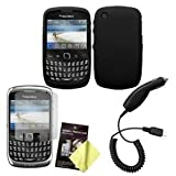 BlackBerry Curve 3G 9330 / 9300 / 8520 / 8530 Black Silicone Case, LCD Screen Guard / Protector & Car Charger Combo ~ Cbus Wireless