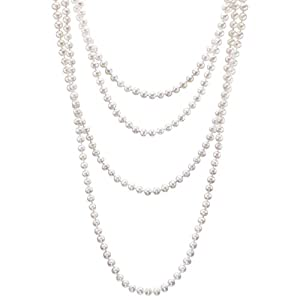 HinsonGayle AAA Handpicked Ultra-Luster White Cultured Pearl Rope Necklace (82 Inches) {{{GET A FREE NECKLACE WITH COUPON, SEE DETAILS BELOW}}}