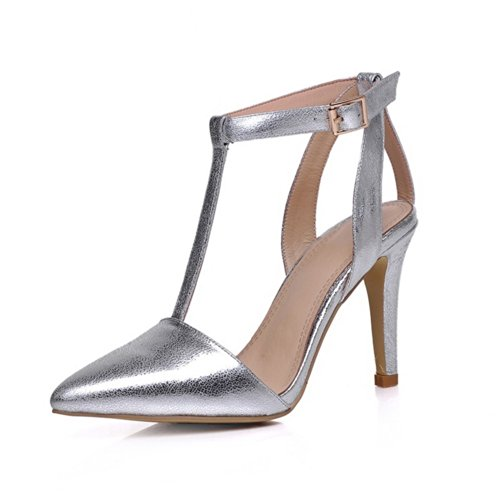 Voguezone009 Womens Closed Pointed Toe High Heel Stiletto Cow Leather Solid Sandals With Buckle, Silver, 7.5 B(M) Us