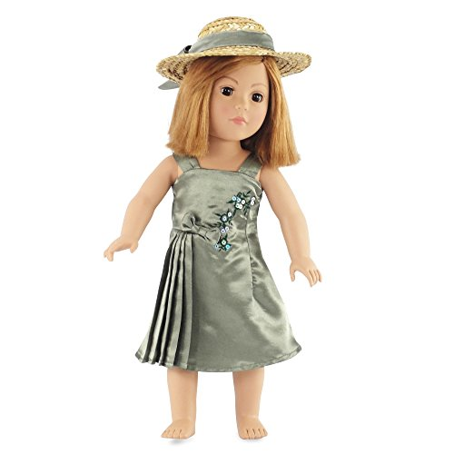 "Fits American Girl Doll Satin Dress & Hat - 18 Inch Dolls Clothes/clothing & 18"" Accessories"