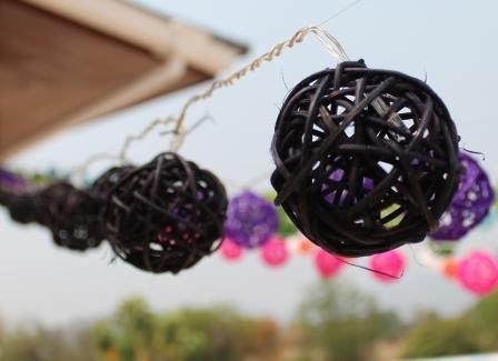 New Solar Powered Led Black Rattan Garden Lantern Fairy Light String