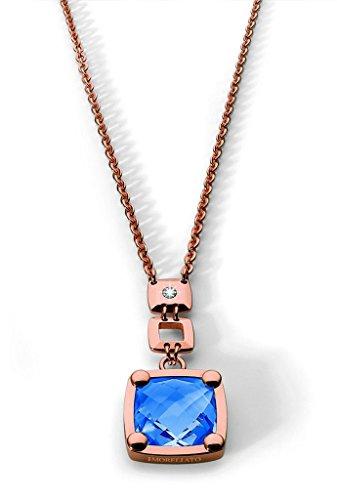 Morellato Collana da donna con ciondolo in acciaio inox spazzolato con diamante (0,01ct) blu 45cm-sj202