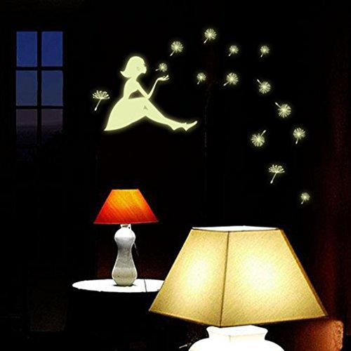 Hatop Dandelion Girl Luminous Cartoon Kids Removable Vinyl Wall 3D Sticker