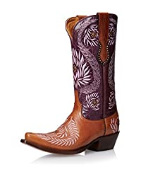 Lucchese Women's Handcrafted 1883 Laurel Leaf Embroidered Cowgirl Boot Snip Toe