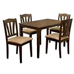 Dining Set With Table Microfiber Cushion Chairs Dining Room