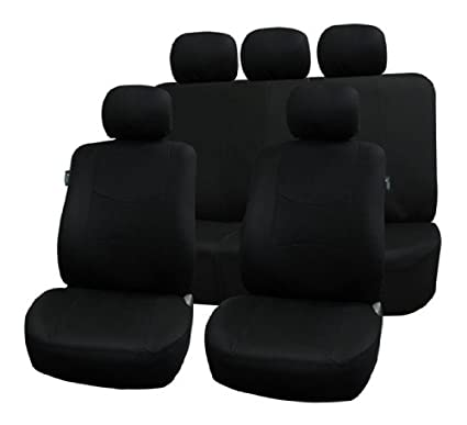 Multifunctional Flat Cloth Car Seat Covers, Airbag compatible and Split Bench, Black color