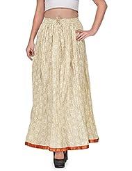 Saffron Craft Women Cotton Full Skirt Offwhite Freesize