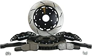 RacingBrake 2032-381-411-BK Open Slotted Finish Front Big Brake Kit with Black Calipers for BMW E36 M3