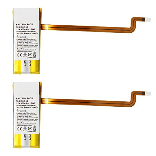 2 Pack Fenzer Replacement 450mAh Battery for Apple iPod Video 5th 5 Gen Generation 30GB (Ipod Video 30gb Battery compare prices)