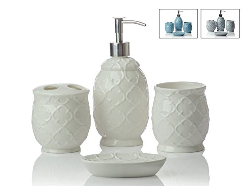 4 piece bathroom accessories set moroccan trellis with soap or lotion dispenser toothbrush holder tumbler and soap dish premium metal pump glossy