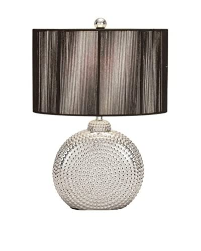 Ceramic Table Lamp, Textured Silver