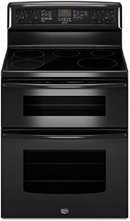 "Maytag MET8775XB Gemini 30"" Black Electric Smoothtop Double Oven Range - Convection"