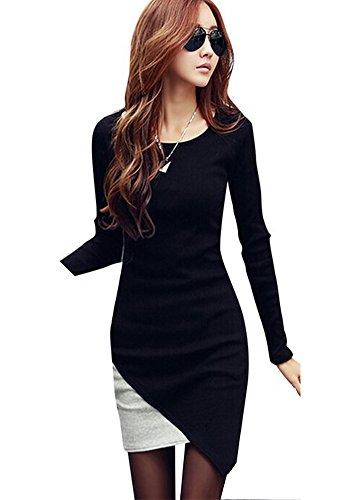 keral-donne-snello-asimmetria-splice-round-collo-lungo-manica-vestito-medium-nero