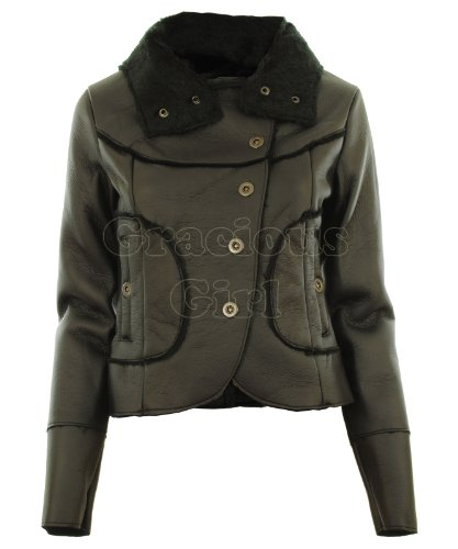 Black UK 8 - Monta New Womens Faux Leather Soft Faux Furs Lining & Collar Ladies Crop Jacket Coat