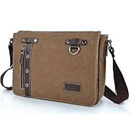 ViCreate Men¡®s Outdoors Fashional British Style Brown Business Canvas Cowhide Single-Shoulder Bag