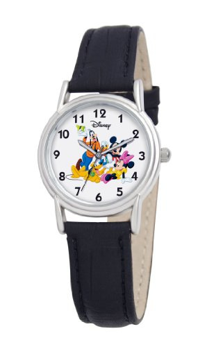 Disney Women's D078S005 Mickey Mouse and Friends Black Leather Strap Watch