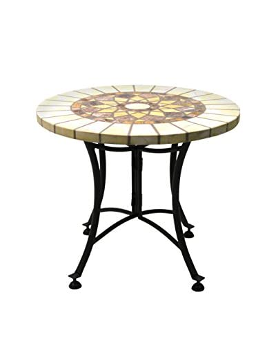 Outdoor Interiors 24 Round Marble Mosaic Accent Table, Honey
