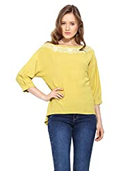 Saiesta Women's Lime Embroidered Top With Batwing Sleeves